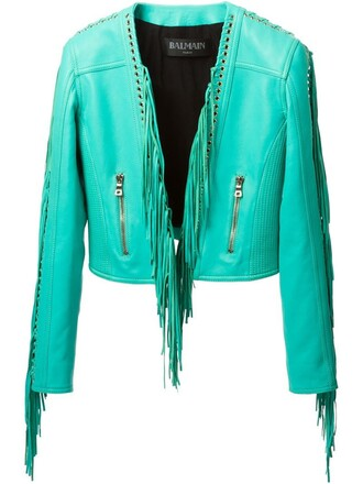 jacket fringed jacket blue