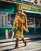scarf,furry bag,furry boots,brown,plaid coat,yellow coat,knitted scarf,brown fluffy scarf,winter outfits