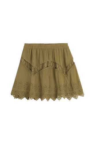 skirt mini skirt mini embroidered green