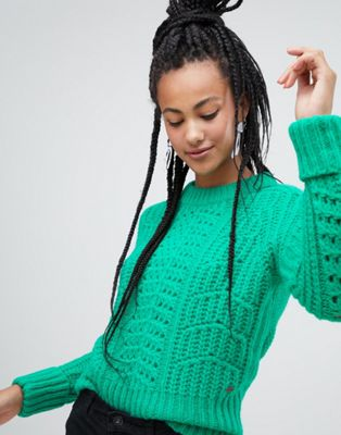 Esprit chunky textured jumper in green at asos.com