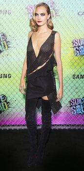 dress,mini dress,boots,cara delevingne,model,asymmetrical dress,over the knee boots
