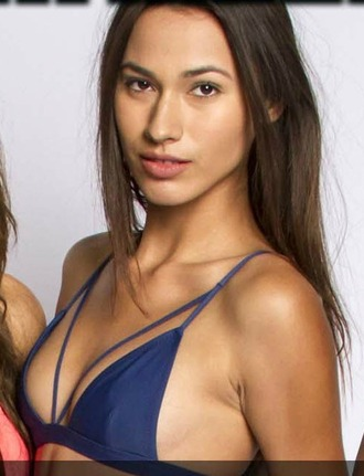 swimwear navy blue strappy bikini triangle katherine laprell