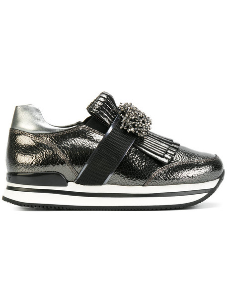 Hogan - sequin and fringe detailed sneakers - women - Leather/rubber - 39, Grey, Leather/rubber in metallic