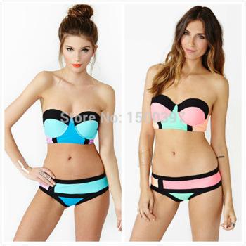 Aliexpress.com : buy new arrival 2015 swimwear women traingle bikini pink/black block party bikini neon top push up swimsuit sexy vintage monokini from reliable bikinis set suppliers on igoodbuy