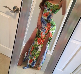 dress tropical bodycon dress maxi dress hawaiian summer slit dress slit maxi skirt double slit skirt green floral