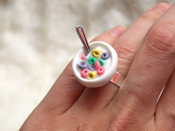 Cute Ring Fruit Loops Bowl Ring Breakfast Cup Door