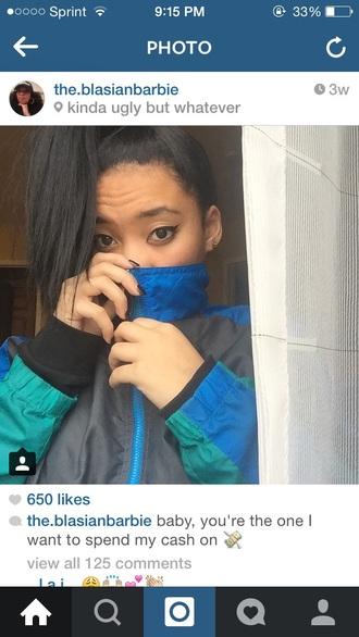 jacket nike sportswear nylon blue gray grey windbreaker polyester