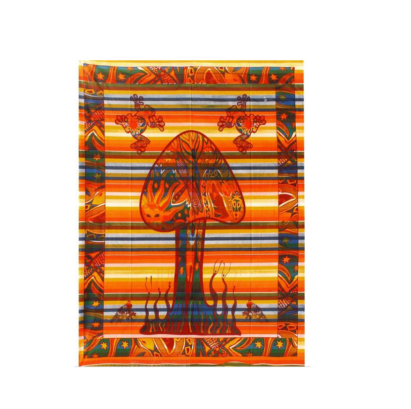 Psychedelic mushroom frogs tapestry