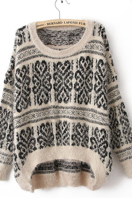 White Long Sleeve Tribal Print Mohair Sweater | CozBest:lastest womens fashion clothing,shoes,dresses shop online