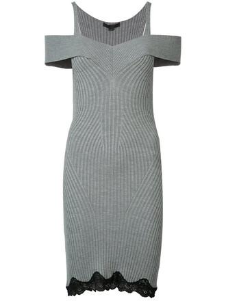 dress women spandex cold silk knit grey