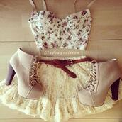 skirt,lace,short,fluffy,white,beautiful,bralette,shoes,belt,flowers,gorgeous,shirt,blouse,heels,top,girl,girly,fashion,cute,hipster,bustier,floral,vintage,corset,high heels,outfit,tank top,perfect flower spring summer crop top need everything inlove,dress,crop,beige platform boots,5 inch,floral tank top,lace skirt,white lace,heel boots,tumblr,tumblr outfit,summer,summer outfits,clothes,flowered shorts,crop tops,lace dress,tulle skirt,bustier crop top,camila,pink flowers