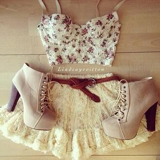 skirt lace short fluffy white beautiful bralette shoes belt flowers gorgeous shirt blouse heels top girl girly fashion cute dress beige platform boots 5 inch