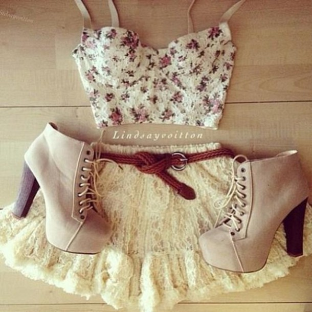 skirt, lace, short, fluffy, white, beautiful, bralette ...