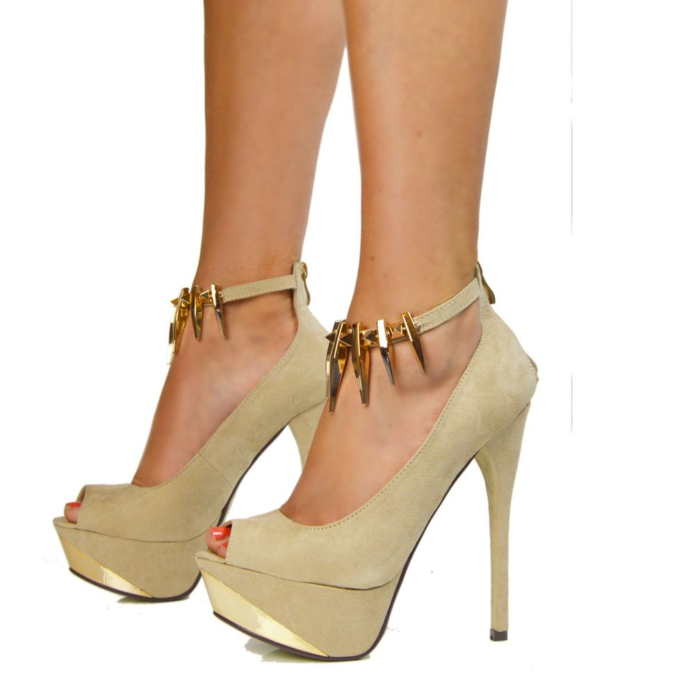 LADIES NUDE BEIGE PLATFORM HIGH HEEL PEEP TOE GOLD CHAIN SPIKE SIZE