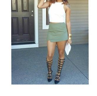 shoes skirt forest green forever 21 heels black cuff bracelet