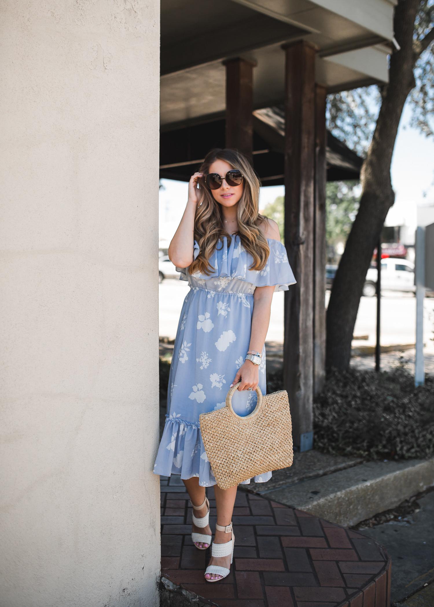 Off the Shoulder Blue Midi Dress | The Teacher Diva: a Dallas Fashion Blog featuring Beauty & Lifestyle