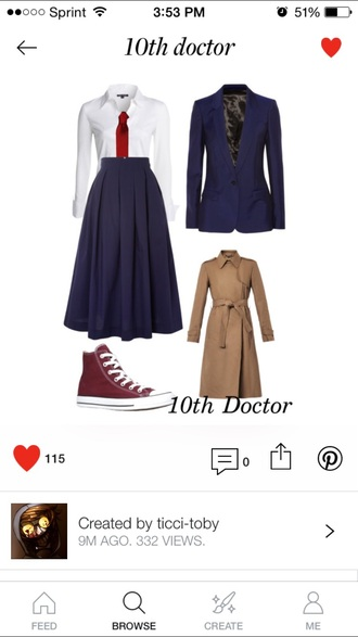 coat doctor who cosplay the doctor shirt necktie shoes cute outfits trench coat david tennant blazer skirt blouse jacket