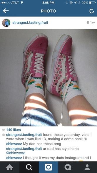 shoes pink vans checkerboard oldskool butterflies