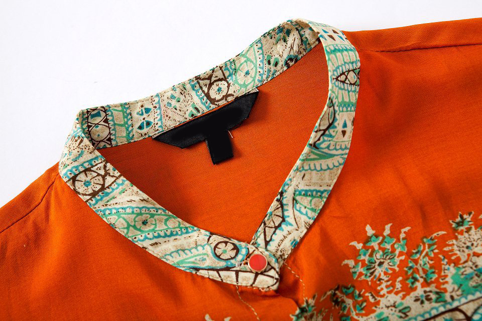 Orange Long Sleeve Tribal Print Loose Blouse - Sheinside.com