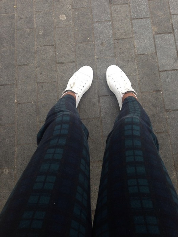 pants plaid tumblr river island pants white shoes