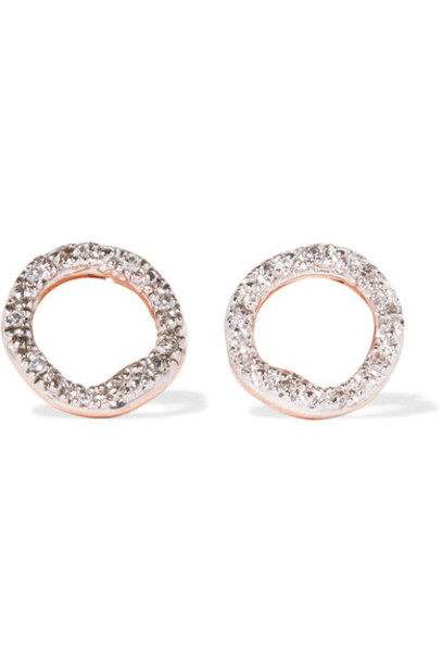 Monica Vinader rose gold rose earrings gold jewels