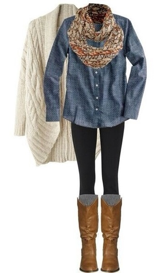 shoes brown leather boots white sweater denim shirt leggings colorful scarf scarf white cardigan riding boots blue blouse cardigan fall outfits