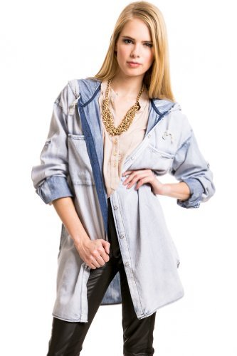 Beulah Hooded Acid Washed Jacket in Denim : Outerwear