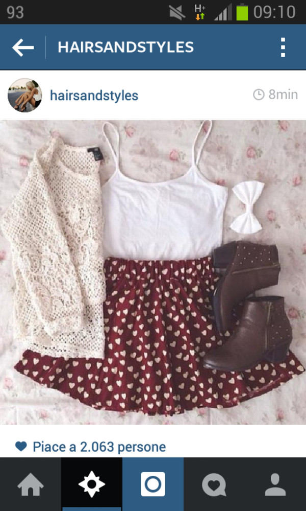 blouse shoes sweater skirt