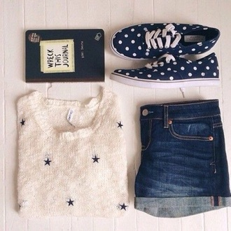 sweater blue dark denim pale indie boho white black laces patterned sweater style stars navy blue shirt knitted sweater knitwear vans trainers denim shorts denim journal book writing dark shorts boho chic hipster shorts hipster clothes tumblr outfit tumblr laceshoes summer shorts summer shoes jumpsuit