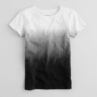 shirt white grey black ombre t-shirt
