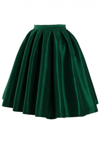 Green A-line Midi Skirt - Retro, Indie and Unique Fashion