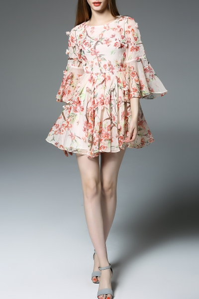 Flounced Sleeve Flower Embellished Dress