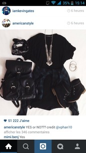 bag,black t-shirt,bandana shorts,shorts,shoes,all black everything,jewels,jumpsuit,dress,shirt