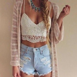 shirt necklace blue cute studs beaded lace shorts tank top cardigan sweater white crop tops crop tops skirt jewels jacket dress make-up