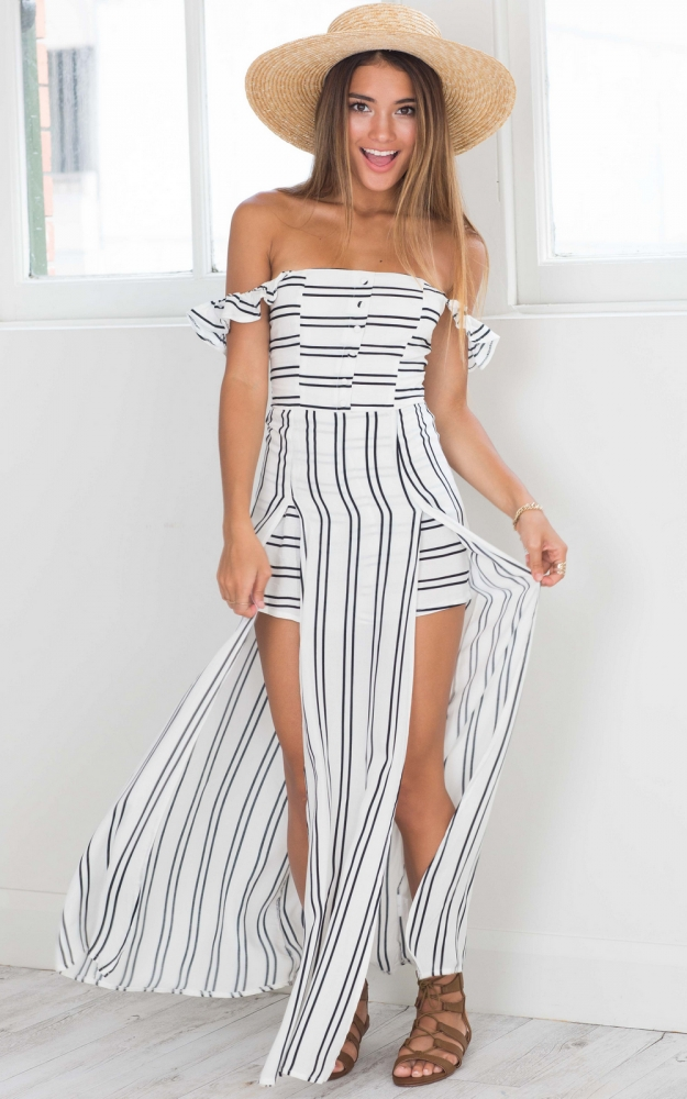 Thinking Bout You maxi playsuit in white stripe Produced By SHOWPO