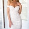 White off shoulder sweetheart neck lace bodycon dress