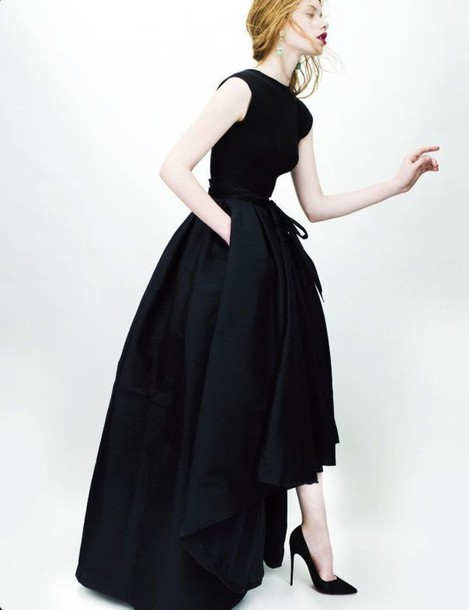 Dress: dior, christian dior, black, long, classic, haute ...