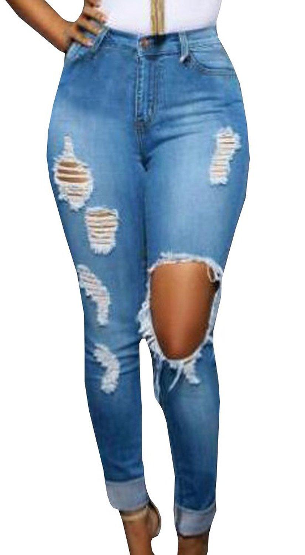 Pxmoda Women's New Blue Denim Jeans Skinny Distressed ...