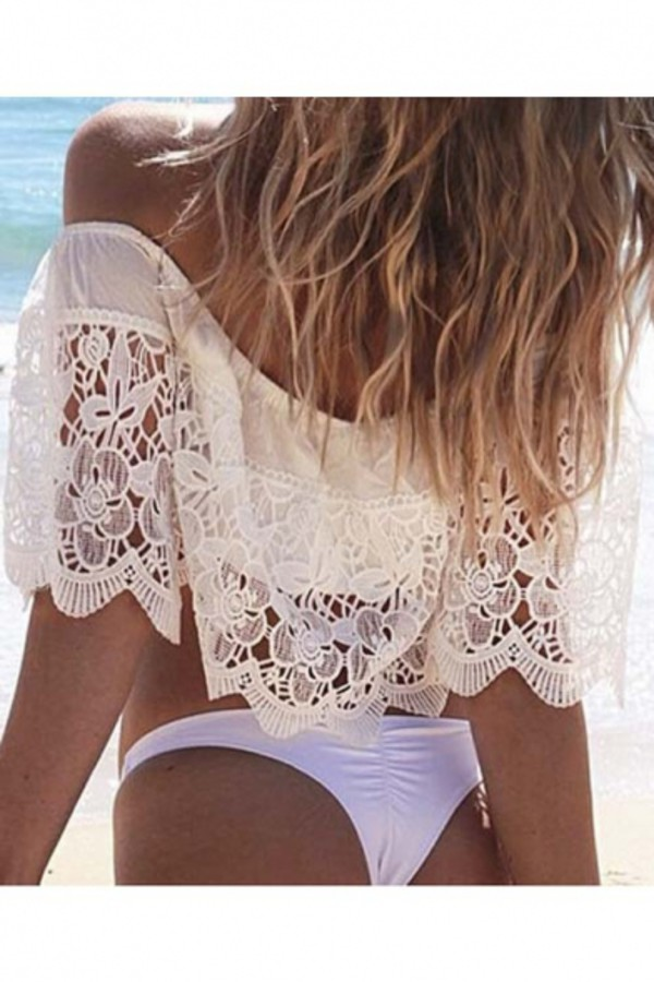 top lace fashion tan beach white sexy hot off the shoulder crop tops cropped beautifulhalo