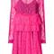 Msgm - floral embroidery dress - women - polyamide - 42, pink/purple, polyamide