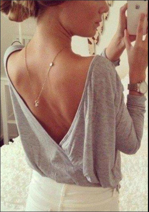 top low back long sleeves