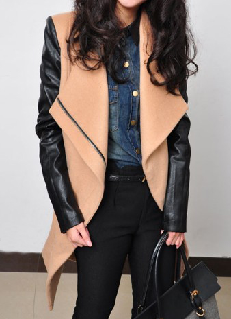 Camel Contrast Leather Long Sleeve Zipper Coat - Sheinside.com