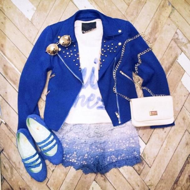 jacket blue crochet shorts lace pumps heels studs shirt top tank top t-shirt clutch bag white gold