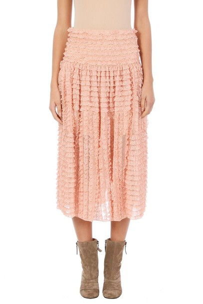 skirt lace rose pink