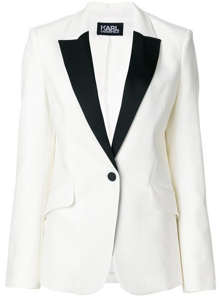 karl lagerfeld blazer summer women spandex white wool jacket