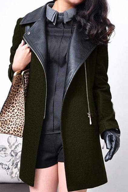 ROMWE | Romwe Panel Faux Leather Green Woolen Coat, The Latest Street Fashion