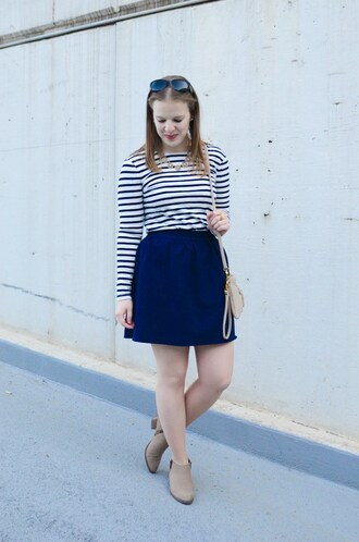 somethinggood blogger top skirt shoes bag jewels blue skirt striped top shoulder bag ankle boots mini skirt