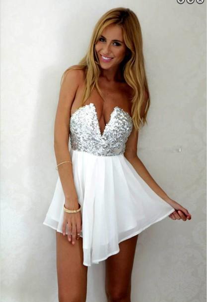 c18c2bc2bccd dress deep v deep v dress sexy deep v dress white silver sequins sequin  dress black