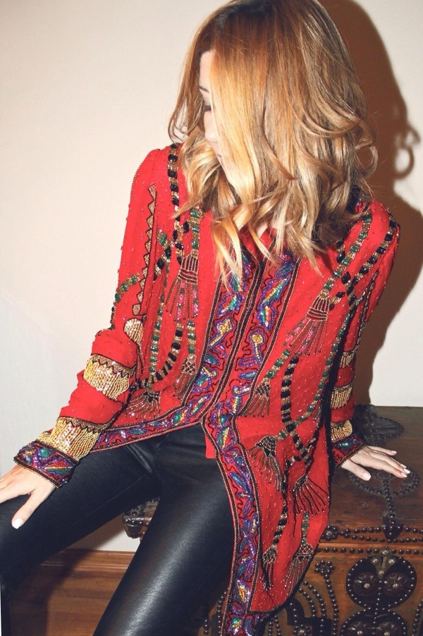 jacket blouse ethnic embroidered style bold coat military coat punk shirt boho chic boho top