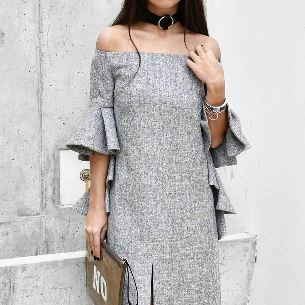 dress bracelets black choker tumblr grey dress off the shoulder off the shoulder dress ruffle dress ruffle silver bracelet clutch pouch choker necklace cuff bracelet spring outfits spring dress
